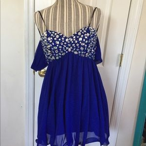 Blue Jeweled Junior Prom Dress